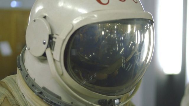 A spacesuit used by Russian cosmonauts