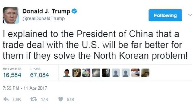 """Screenshot of Donald Trump tweet saying: """"I explained to the President of China that a trade deal with the U.S. will be far better for them if they solve the North Korean problem!"""""""