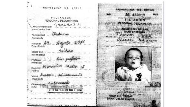 Cópia do passaporte de Daniel em 1977. Ele foi levado do Chile quando tinha cinco semanas de idade