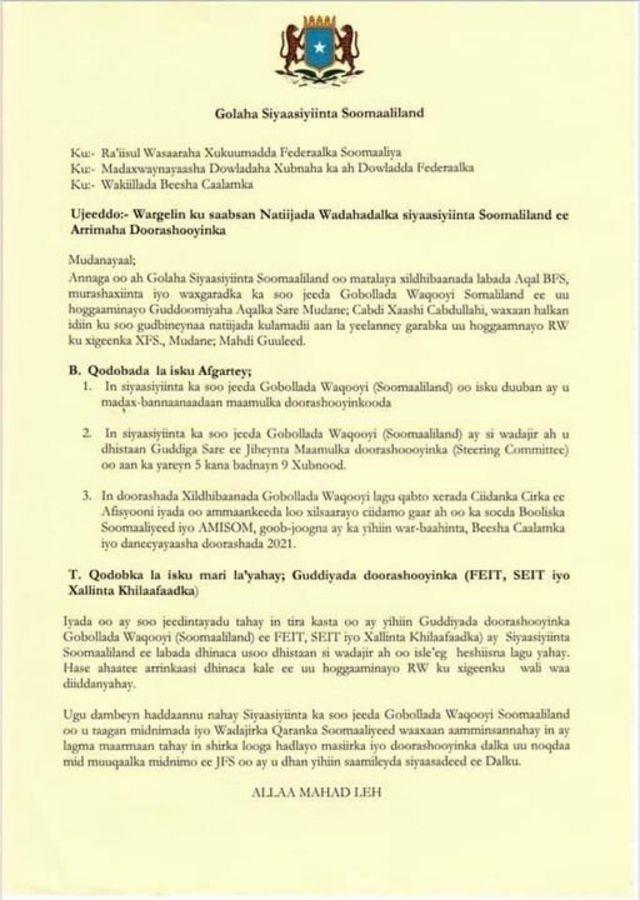 """Warqadda """"Golaha Siyaasiyiinta Somaliland"""""""