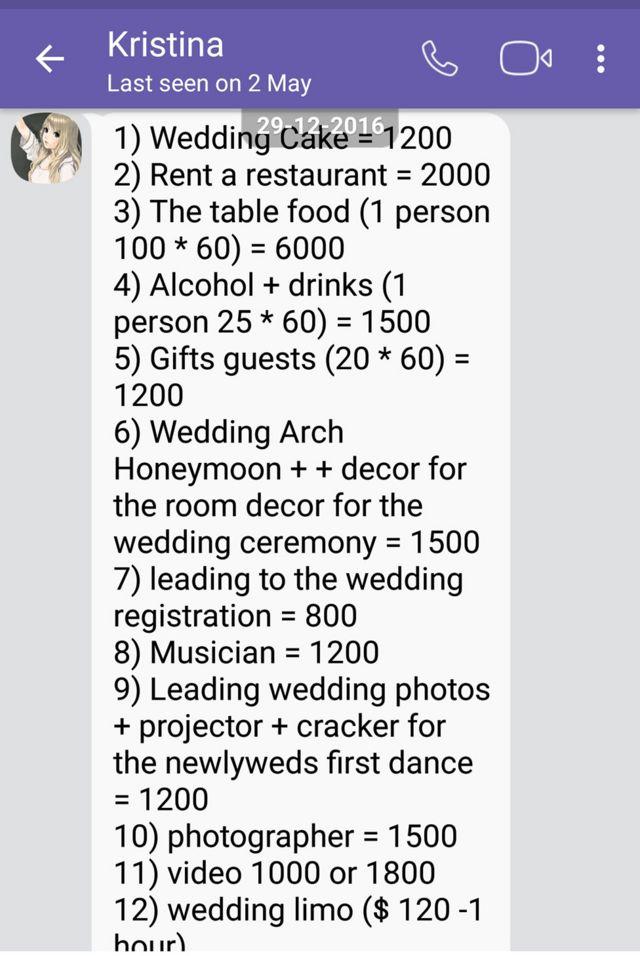Wedding bill itemised