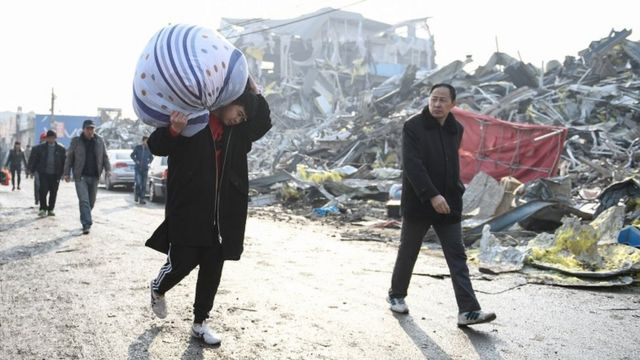 曾經居住在西紅門鎮新建一村至四村的來京務工人員搬離新建村。