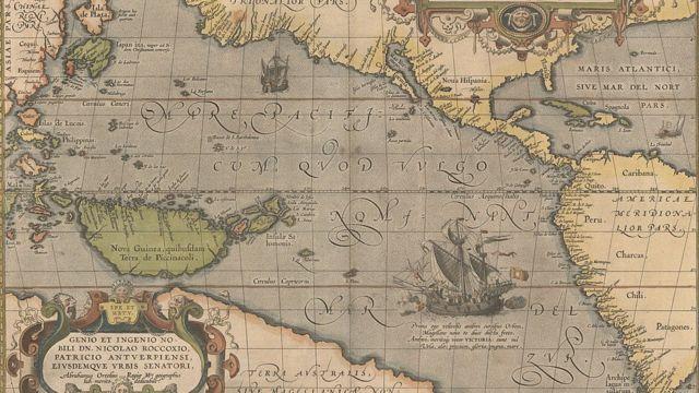 Mapa del Océano Pacífico de 1595.