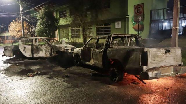 Coches quemados en Curacautín
