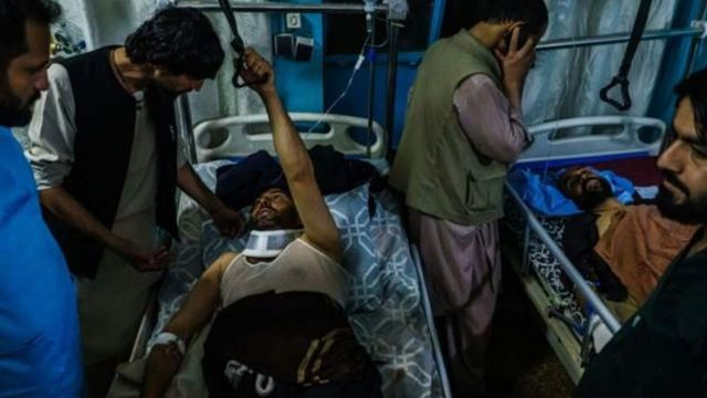 A victim of the double attack on Kabul airport on 26 August