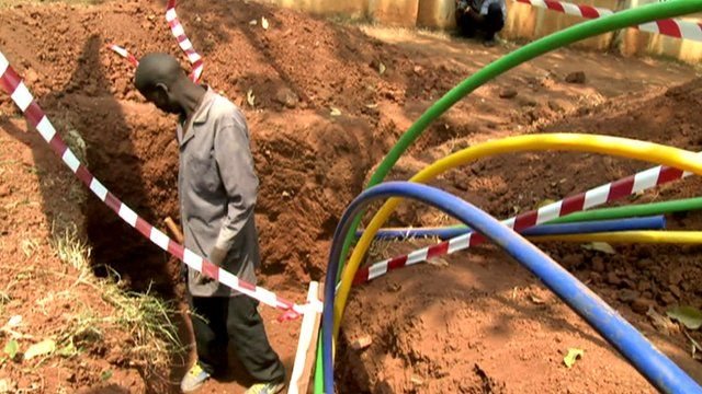 Fibre-optic cables being installed in Kampala