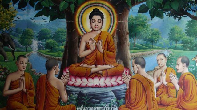 Ο Βούδας απεικονίζεται με φωτοστέφανο σε πορτρέτα σε όλο τον κόσμο, όπως σε αυτήν την τοιχογραφία από καμποτζιανό ναό