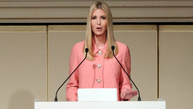 Ivanka Trump speaking from a podium in Japan