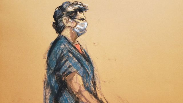 Desenho mostra Keith de perfil em julgamento