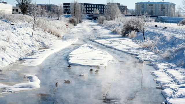 A view of the frozen Chico river in Avila, Spain, 12 January 2021