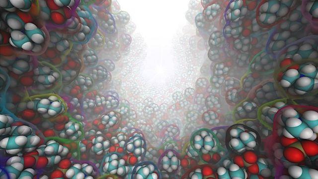 Поверхня сильно викривленої ліпідної мембрани отримана за допомогою молекулярної динаміки з фіксованою кривизною