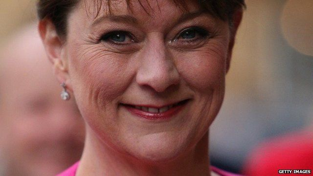 Leanne Wood arrives for BBC debate during General Election May 2015