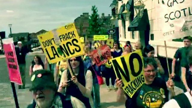 Fracking protesters marching through Preston