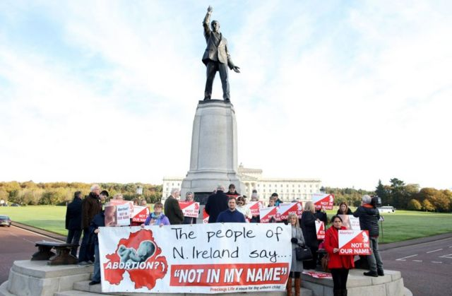 Protesters in Belfast who don't want abortion laws to change