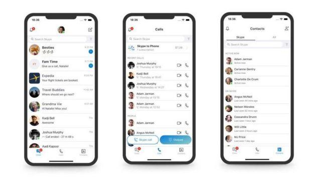 Новый интерфейс Skype для мобильных