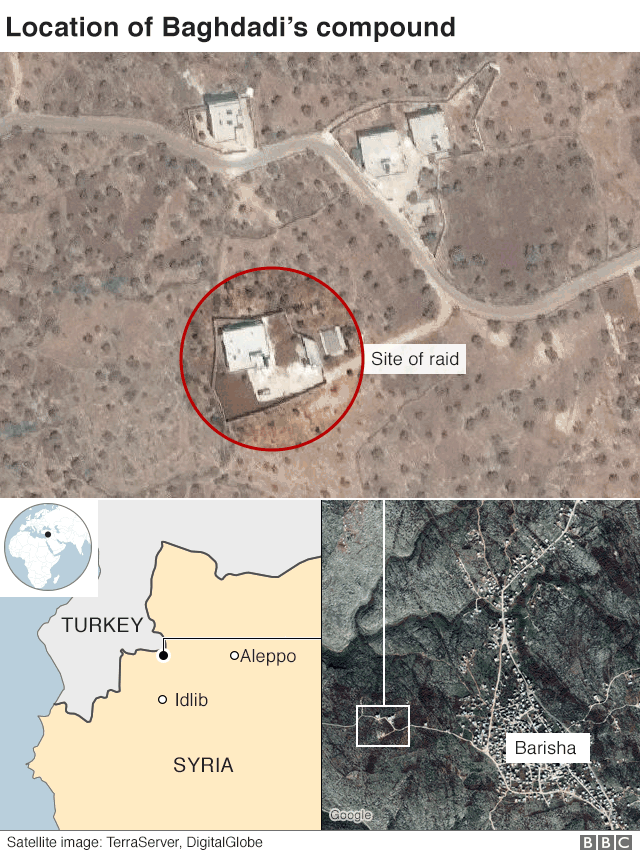 Location of Abu Bakr al-Baghdadi's compound near Barisha, Idlib province, Syria