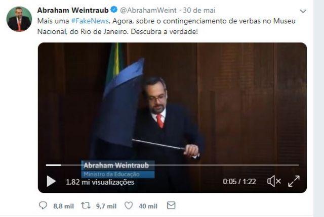 vídeo de Abraham Weintraub no Twitter