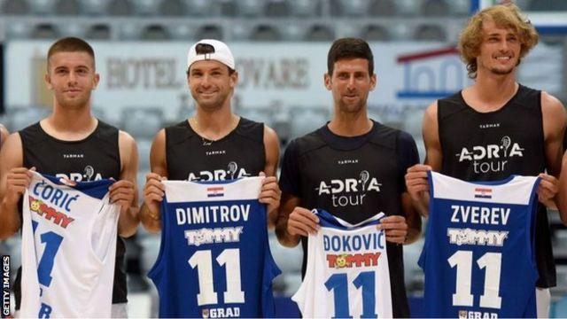 Los tenistas Borna Coric, Grigor Dimitrov, Novak Djokovic y Alexander Zverev (de izda. a dcha.)