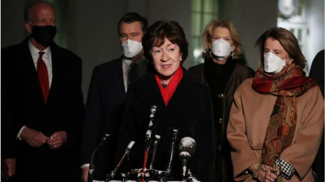 U.S. Sen. Susan Collins (R-ME) speaks to reporters as (L-R) Rep. Jerry Moran (R-KS), Rep. Todd Young (R-IN), Sen. Lisa Murkwoski (R-AK) and Sen. Shelley Moore Capito (R-WV) after meeting with President Joe Biden and Vice President Kamala Harris in the Oval Office at the White House February 01, 2021 in Washington, DC