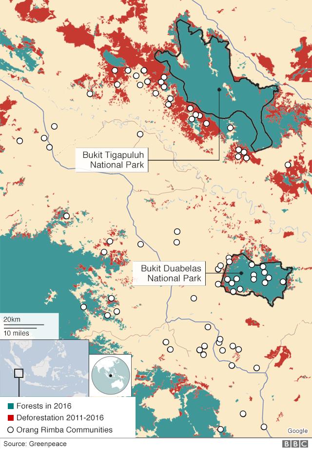 Map showing Orang Rimba deforestation between 2011 and 2016