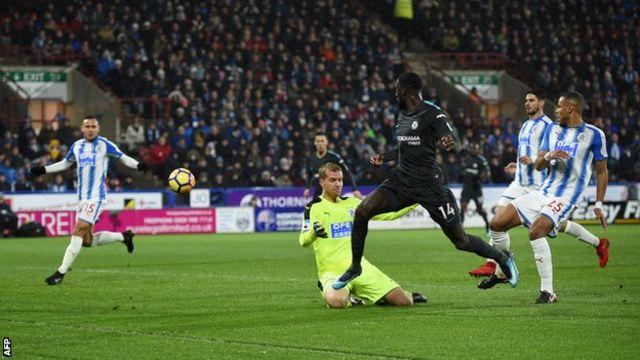 Chelsea's Tiemoue Bakayoko scores against Huddersfield