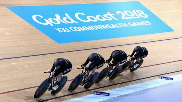 Four men dey do bicycle competition for di 2018 Commonwealth Game