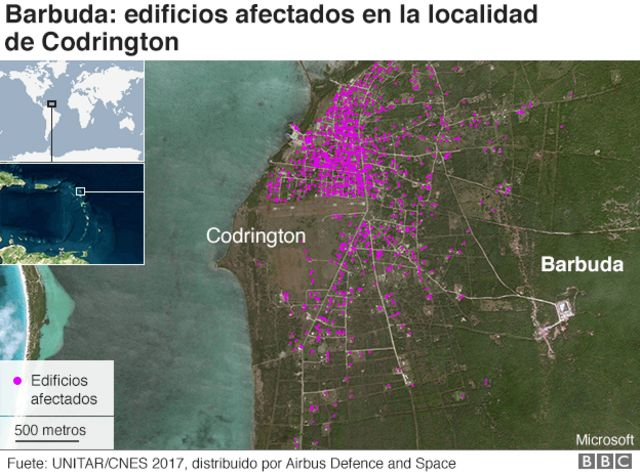 Evaluación de los daños en Codrington, Barbuda