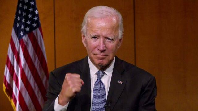 Joe Biden al inicio de la Convención Nacional Demócrata, que se celebra de forma virtual