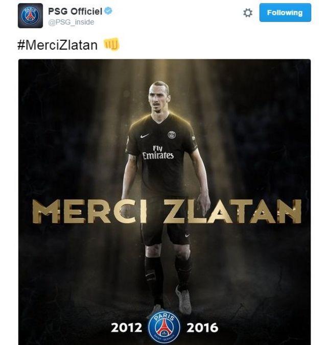 Nyuma gato y'ibyanditswe na Ibrahimovic kuri twitter, PSG yashimiye uyu munya Suwedi
