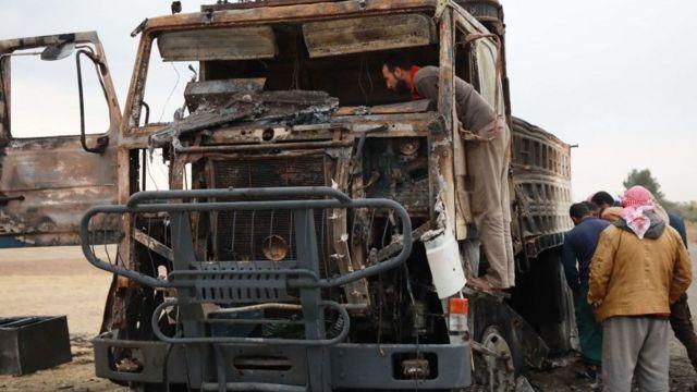 الشاحنة التي كان يقودها ابو الحسن المهاجر