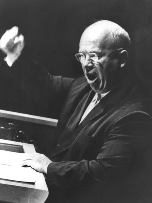 Никита Хрущев на сессии Генассамблеи ООН 12 октября 1960 года