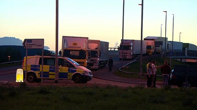 Morrisons delivery lorries backed up