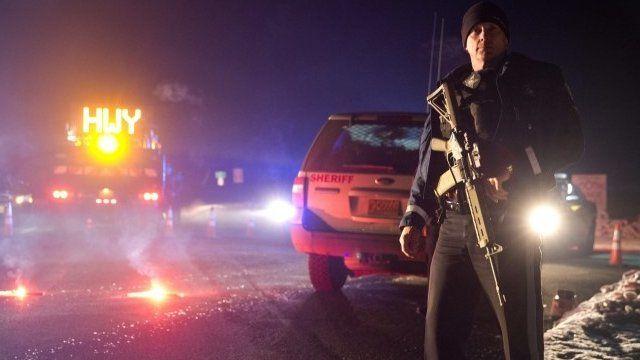 Policeman at roadblock