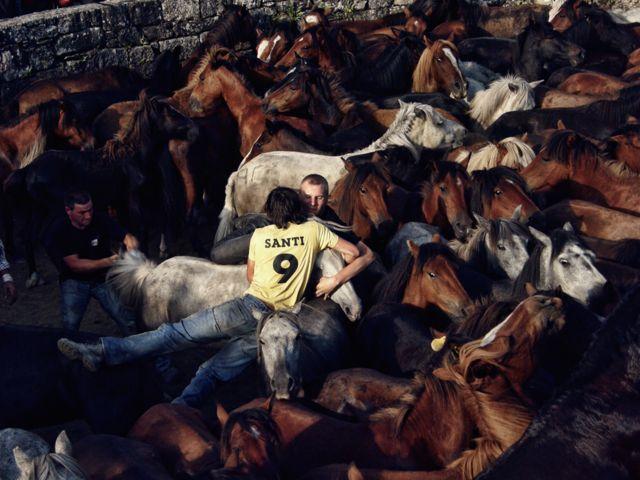 Ljudi i konji na festivalu u Galiciji