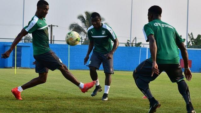 Des joueurs Ivoiriens à l'entrainement à Oyem le 14 janvier