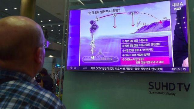 北朝鮮SLBM発射のテレビ報道を見上げる男性。24日、ソウル・仁川国際空港で。