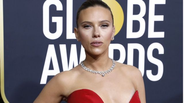 Scarlett Johansson during a Golden Globes awards gala.