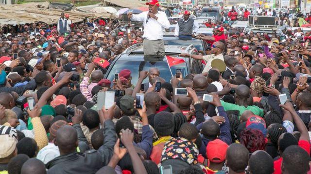 Rais Uhuru Kenyatta akifanya kampeni katika eneo la Kajiado nchini Kenya
