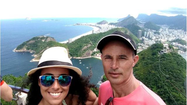 Geovanna Oliveira com o pai, Aroldo Ferreira de Oliveira, morto em tragédia em Brumadinho