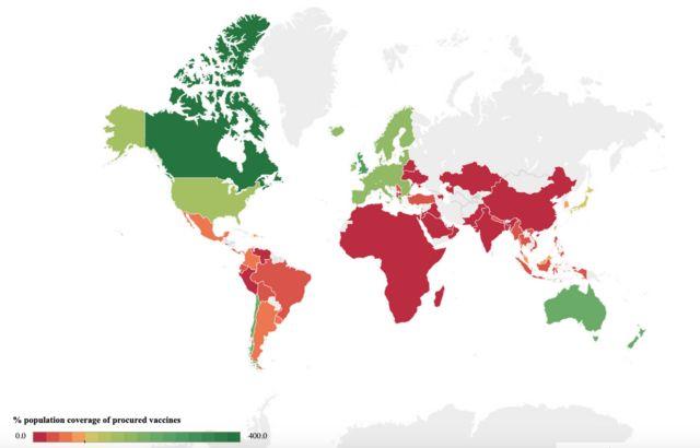 Mapa da Universidade Duke sobre compra de doses de vacinas contra a covid-19