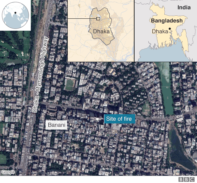 Map shows location where a fire broke out in a building in the Banani district of Dhaka