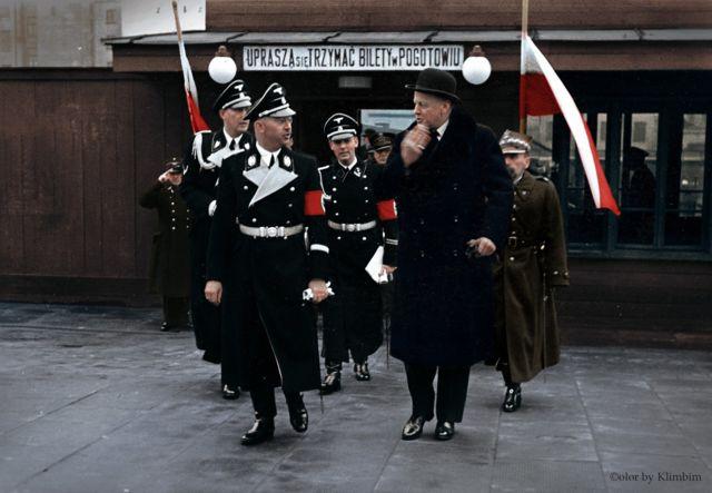 Himler_poland: 1939年2月納粹德國黨衛軍和警察頭目希姆萊訪問華沙