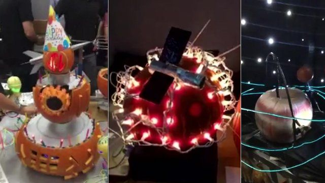 Pumpkins carved by engineers at Nasa's Jet Propulsion Laboratory