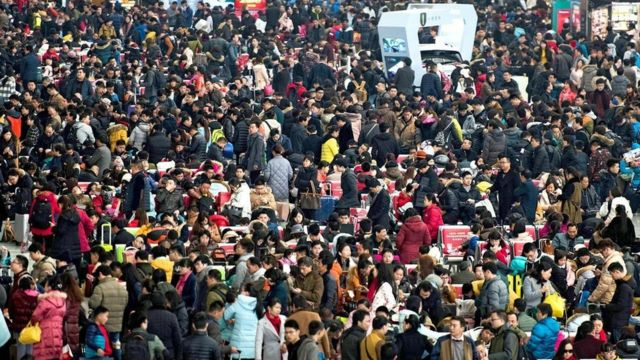 Una muchedumbre en China
