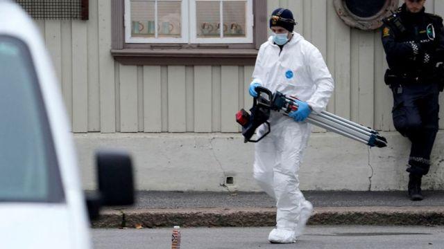 Investigación policial en la mañana de este jueves en Kongsberg.