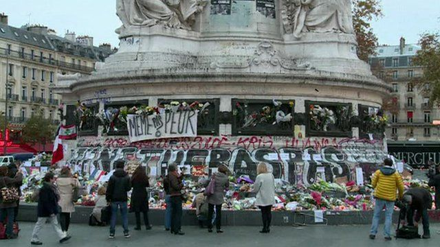 People laying flowers at Place de La Republique on Monday morning