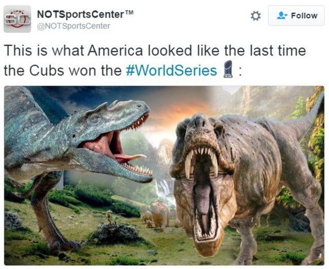 「カブスが前回優勝したときのアメリカの様子」というツイート