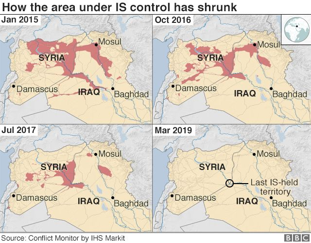 Map showing how the area under IS control has shrunk