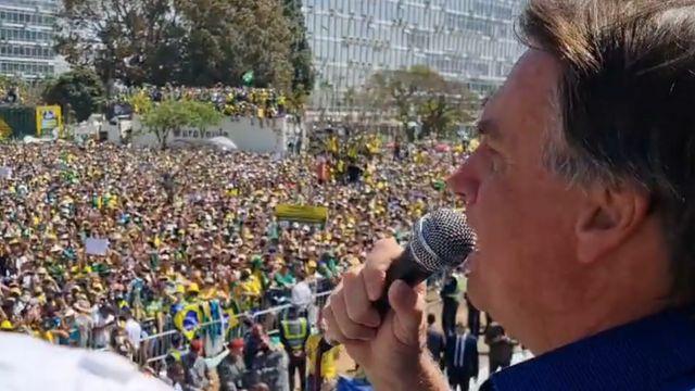 Bolsonaro discursa para apoiadores em Brasília neste 7 de setembro
