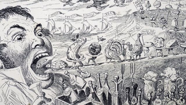 Cartoon by George Cruikshank depicts a gluttonous man devouring a Christmas feast.
